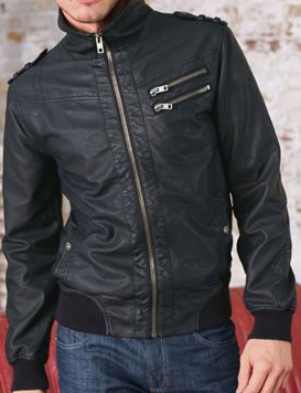 Black Leather Look Funnel Neck Jacket