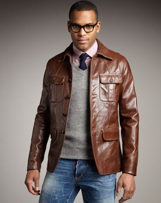 Military leather jacket: Available at Neiman Marcus