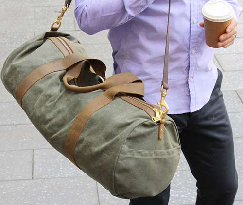 Waxed Olive Duffel Bag